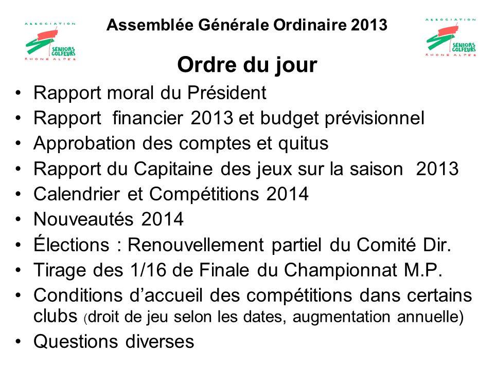 Assemblée Générale Ordinaire 2013 Ordre du jour