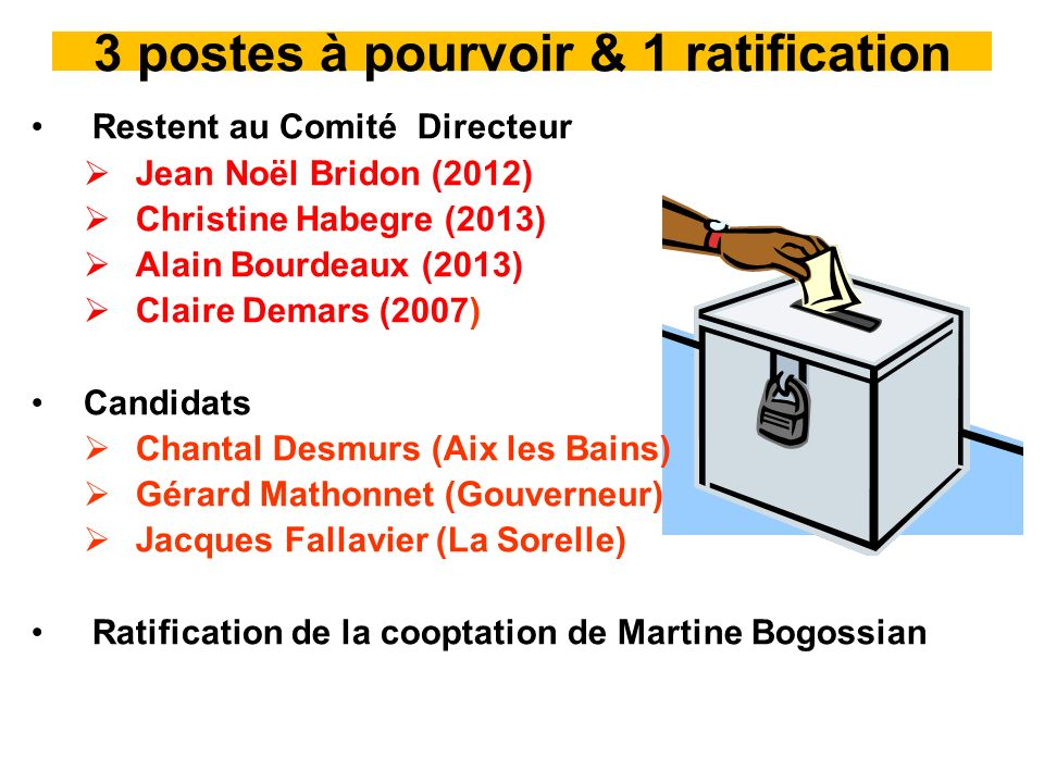 3 postes à pourvoir & 1 ratification