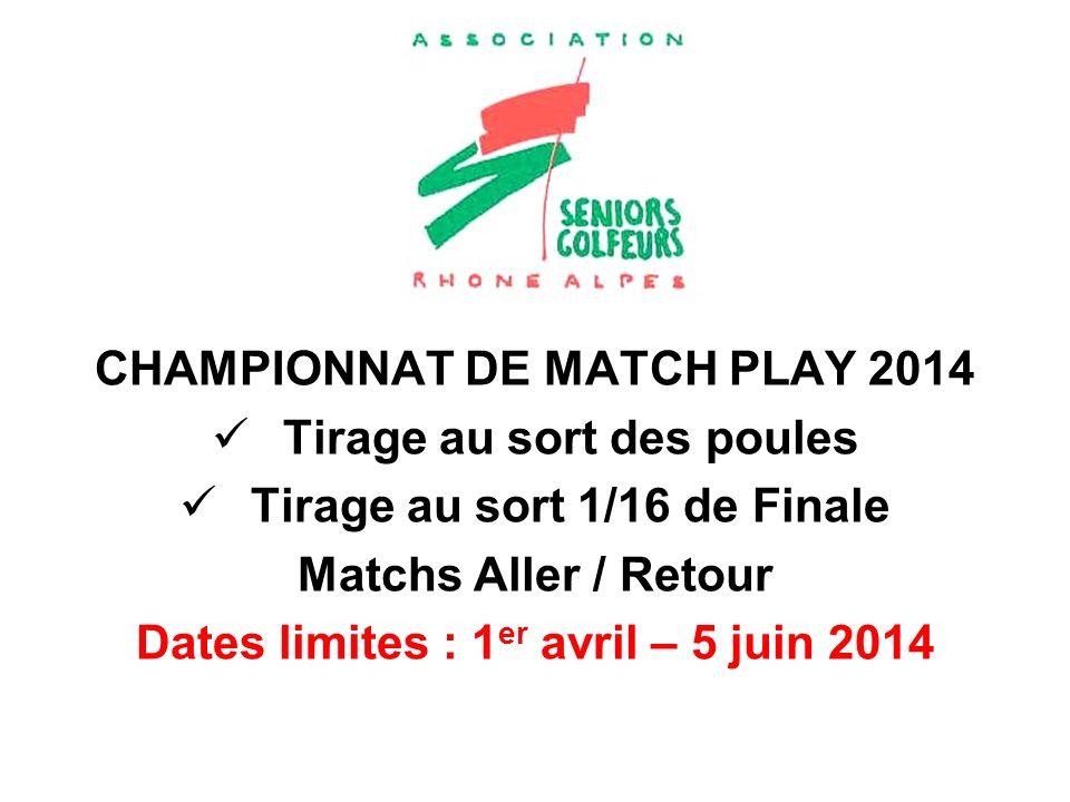 CHAMPIONNAT DE MATCH PLAY 2014 Tirage au sort des poules