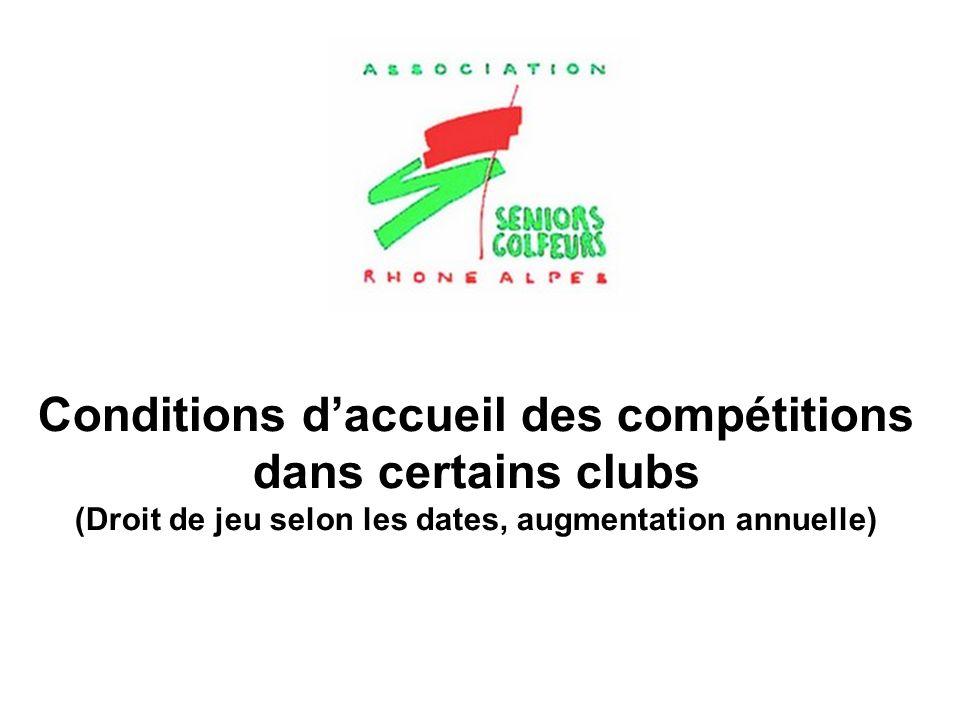Conditions d'accueil des compétitions dans certains clubs