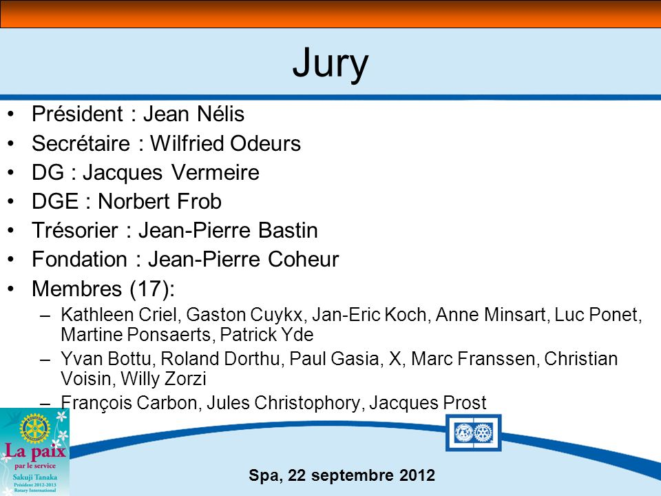 Jury Président : Jean Nélis Secrétaire : Wilfried Odeurs