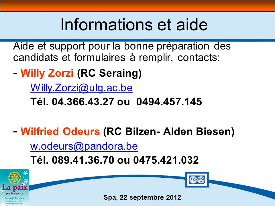 Informations et aide - Willy Zorzi (RC Seraing)