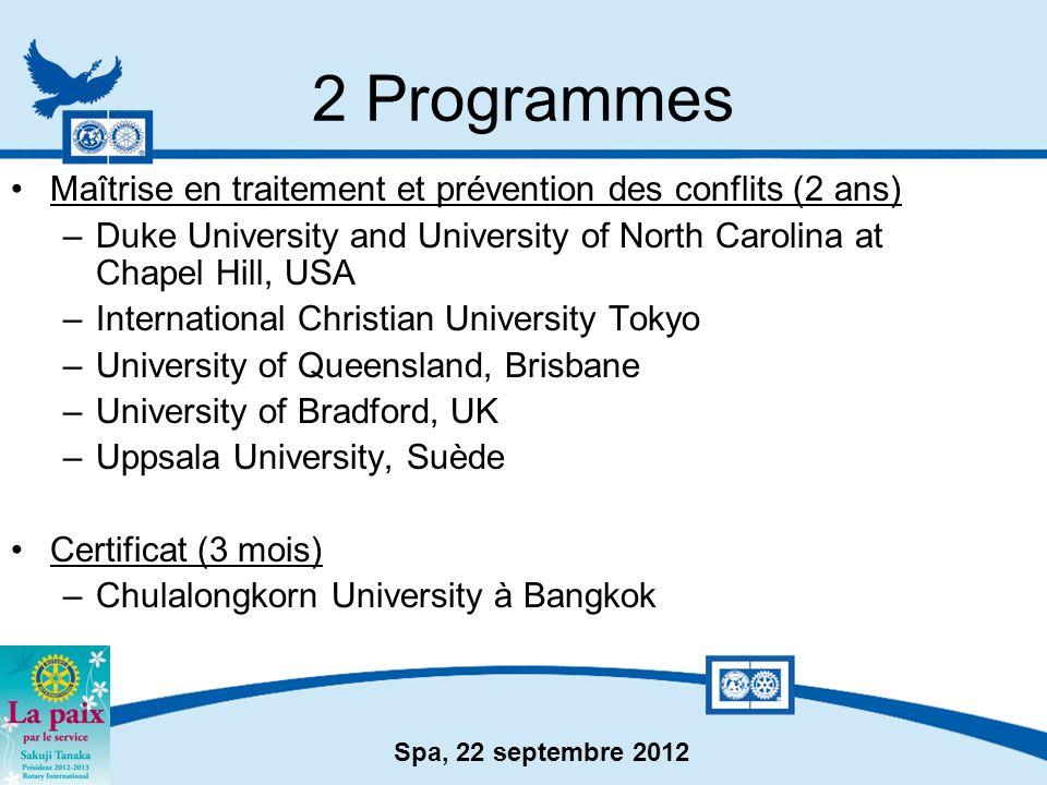 2 Programmes Maîtrise en traitement et prévention des conflits (2 ans)