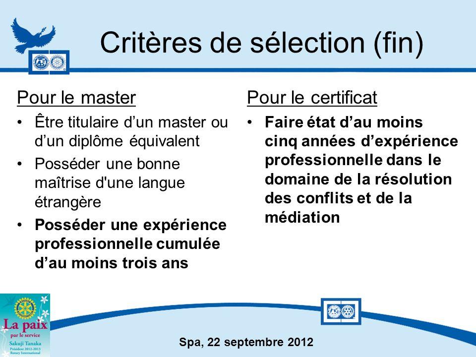 Critères de sélection (fin)