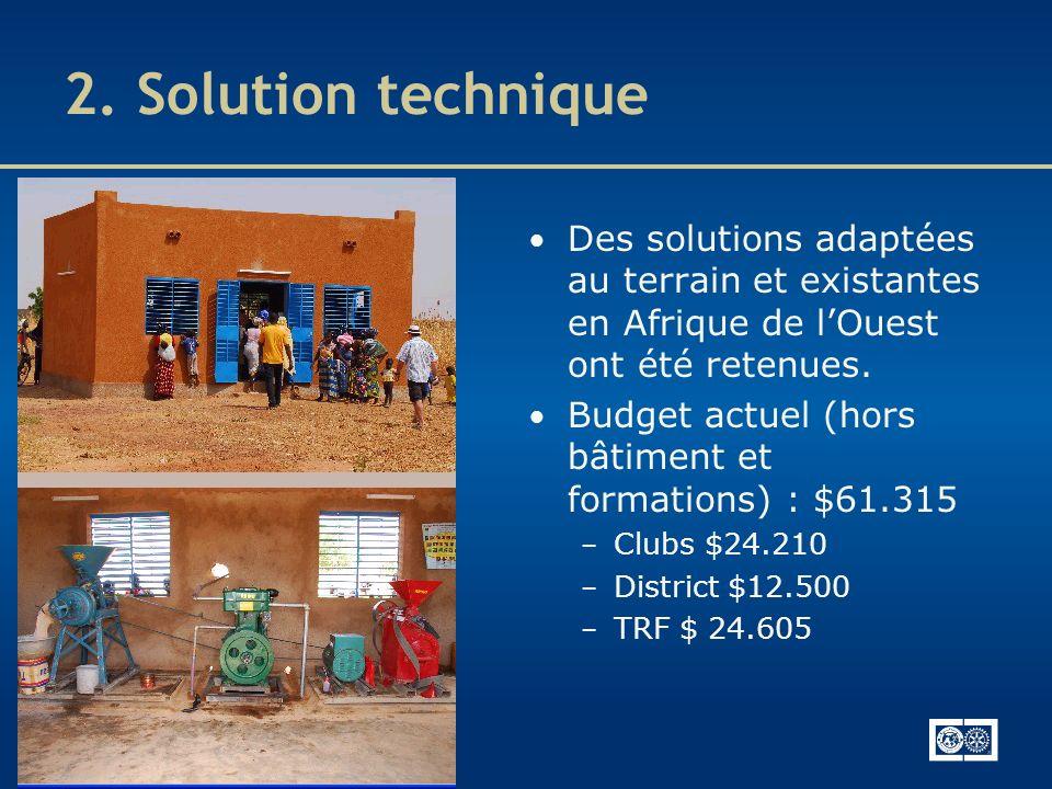 2. Solution technique Des solutions adaptées au terrain et existantes en Afrique de l'Ouest ont été retenues.