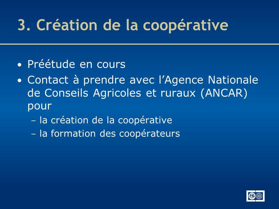 3. Création de la coopérative