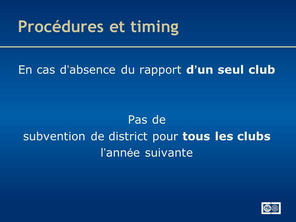 Procédures et timing En cas d'absence du rapport d'un seul club Pas de