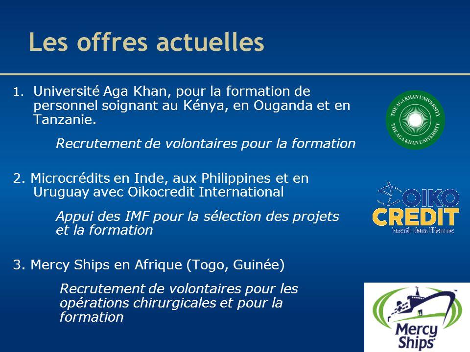 Les offres actuelles Université Aga Khan, pour la formation de personnel soignant au Kénya, en Ouganda et en Tanzanie.