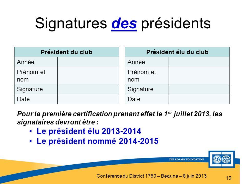 Signatures des présidents