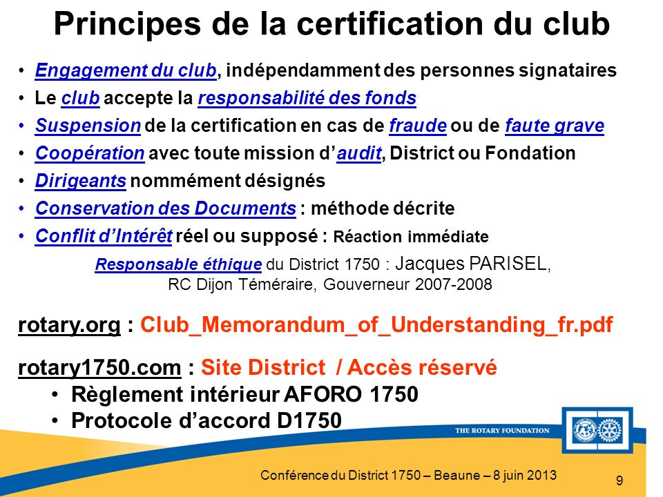 Principes de la certification du club