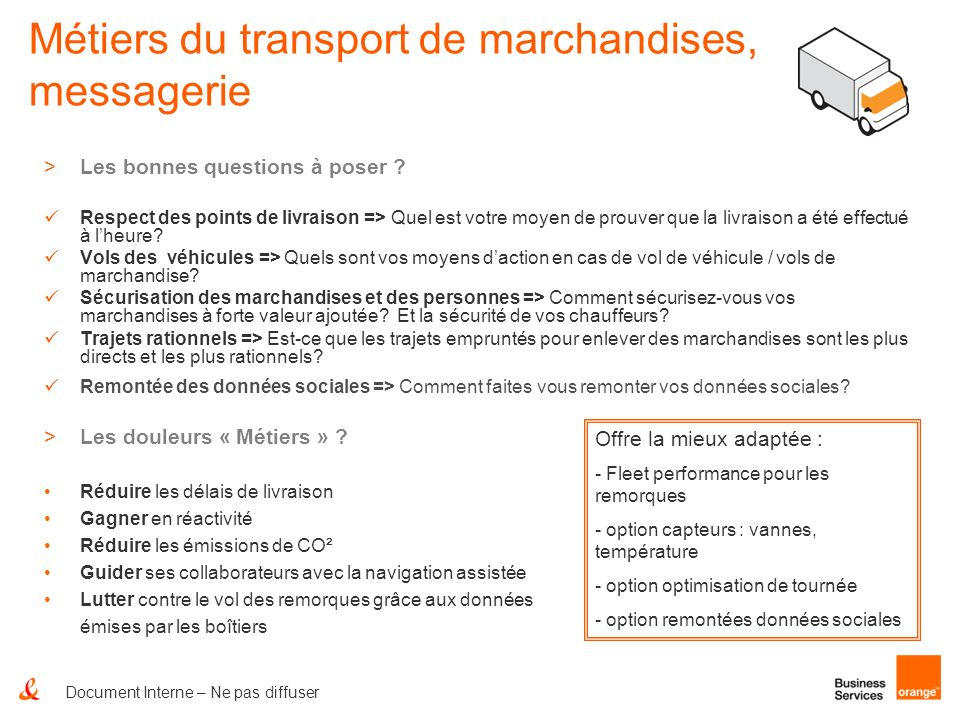 Métiers du transport de marchandises, messagerie