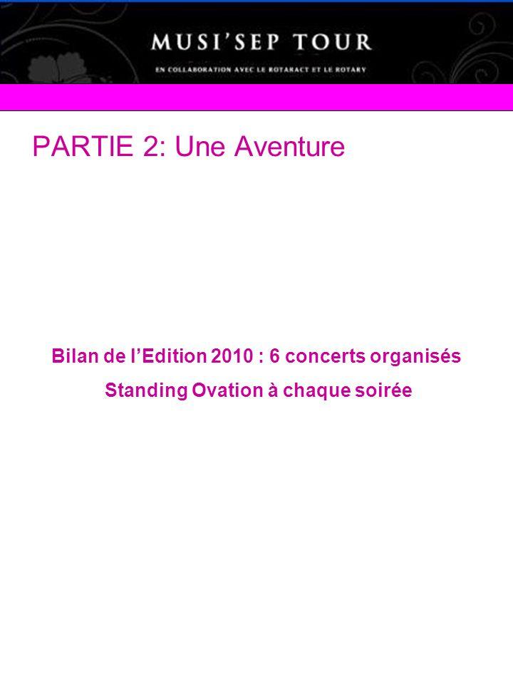 PARTIE 2: Une Aventure Bilan de l'Edition 2010 : 6 concerts organisés