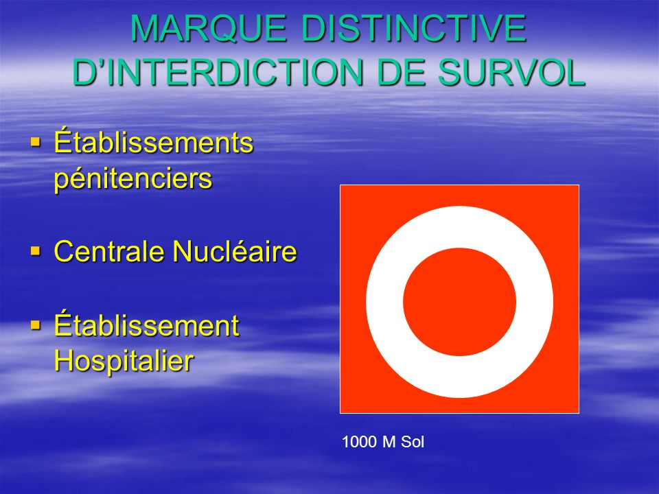 MARQUE DISTINCTIVE D'INTERDICTION DE SURVOL