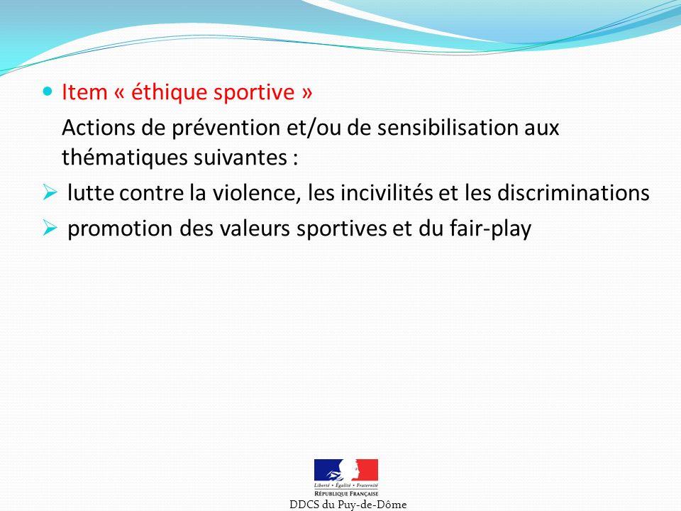Item « éthique sportive »