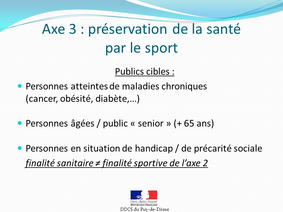 Axe 3 : préservation de la santé par le sport
