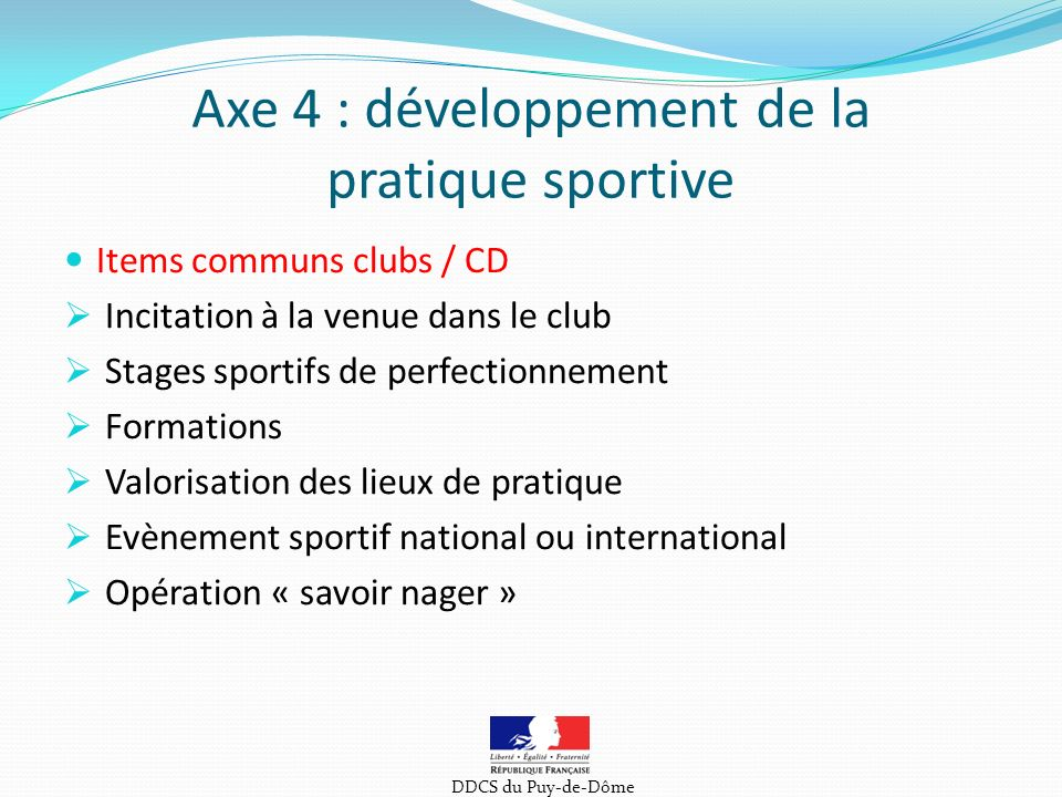 Axe 4 : développement de la pratique sportive