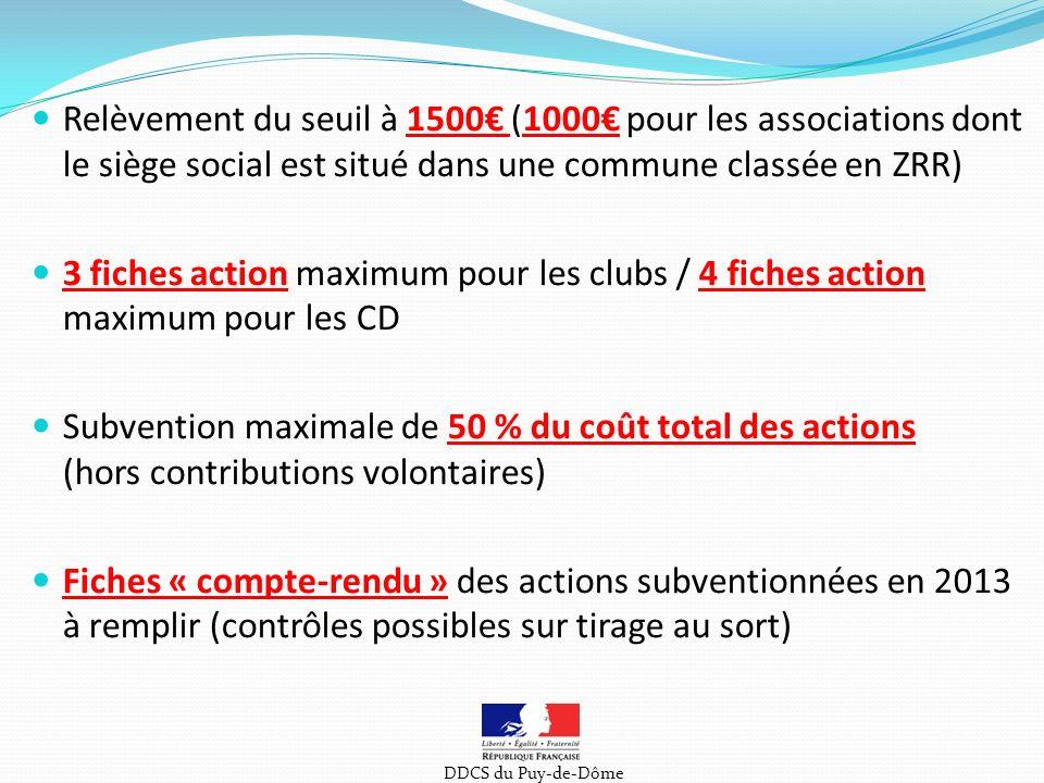 Relèvement du seuil à 1500€ (1000€ pour les associations dont le siège social est situé dans une commune classée en ZRR)