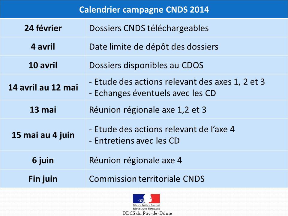 Calendrier campagne CNDS 2014