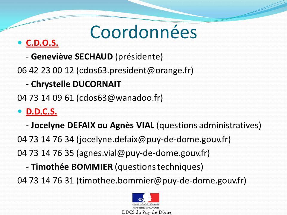 Coordonnées C.D.O.S. - Geneviève SECHAUD (présidente)