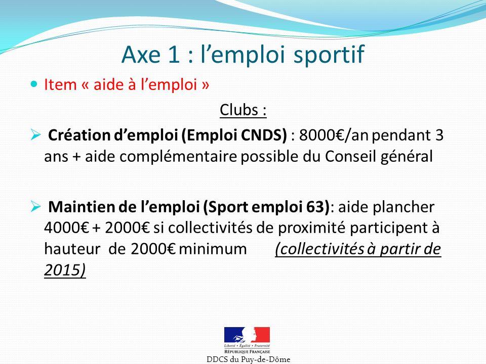 Axe 1 : l'emploi sportif Item « aide à l'emploi » Clubs :