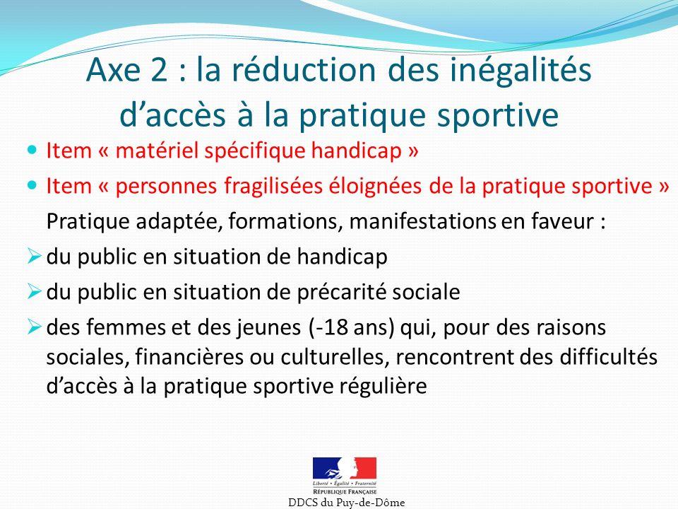Axe 2 : la réduction des inégalités d'accès à la pratique sportive