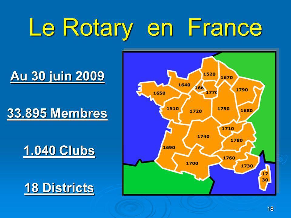 Le Rotary en France Au 30 juin 2009 33.895 Membres 1.040 Clubs