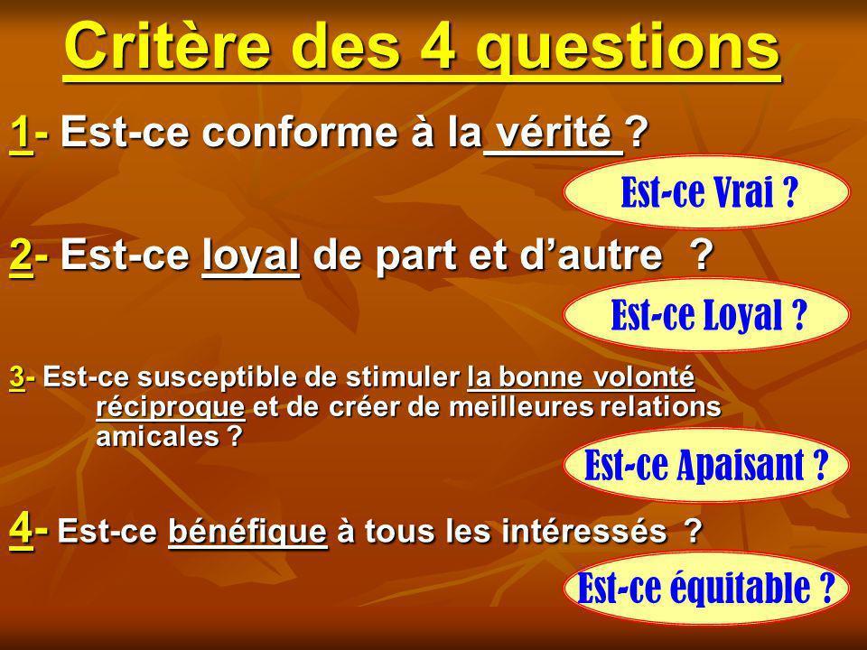 Critère des 4 questions 1- Est-ce conforme à la vérité