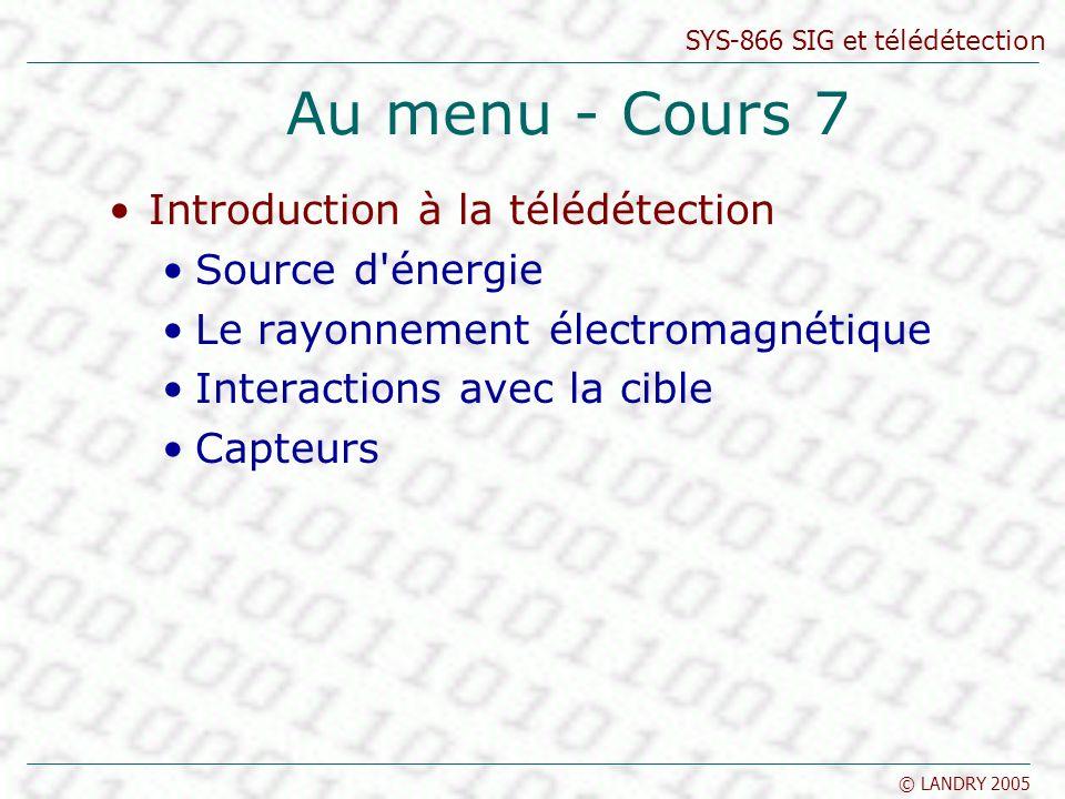 Au menu - Cours 7 Introduction à la télédétection Source d énergie