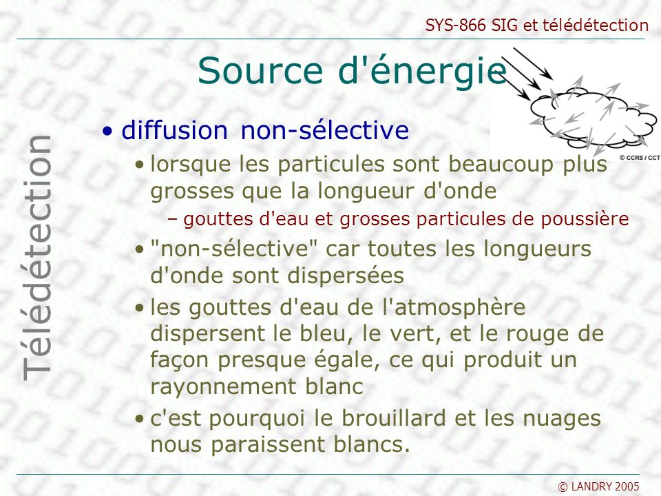 Source d énergie Télédétection diffusion non-sélective