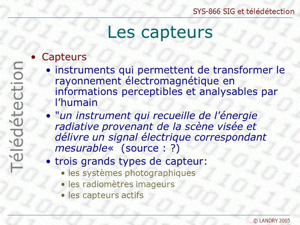 Les capteurs Télédétection Capteurs