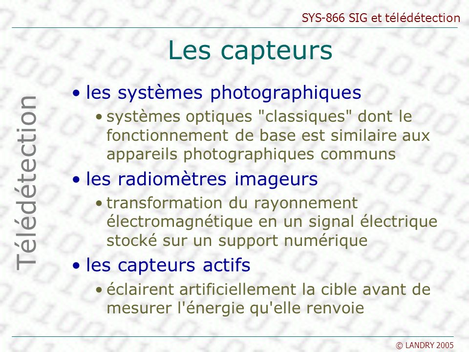 Les capteurs Télédétection les systèmes photographiques