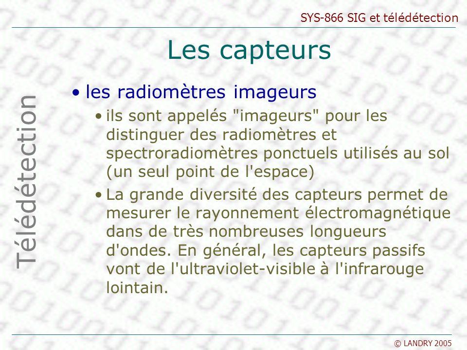 Les capteurs Télédétection les radiomètres imageurs