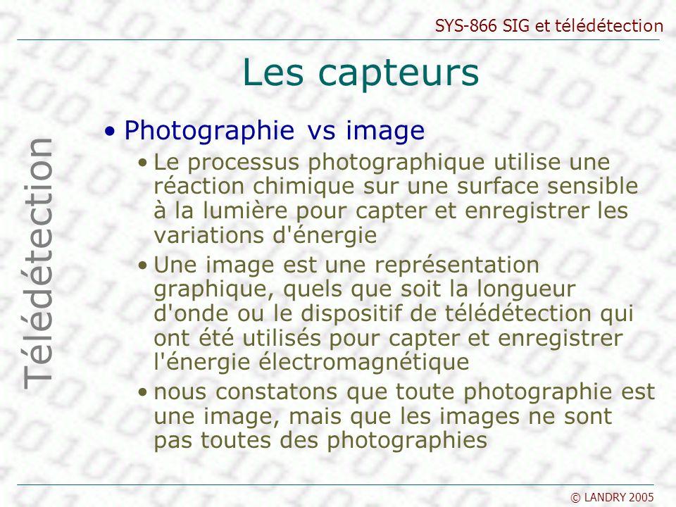 Les capteurs Télédétection Photographie vs image