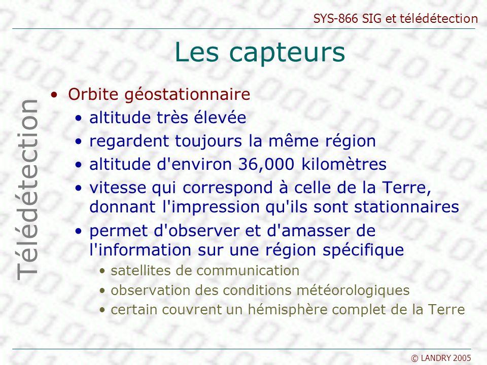 Les capteurs Télédétection Orbite géostationnaire altitude très élevée