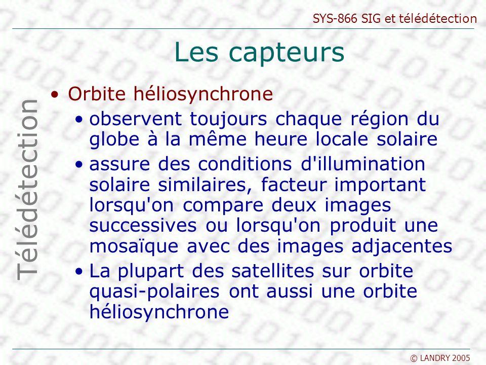 Les capteurs Télédétection Orbite héliosynchrone
