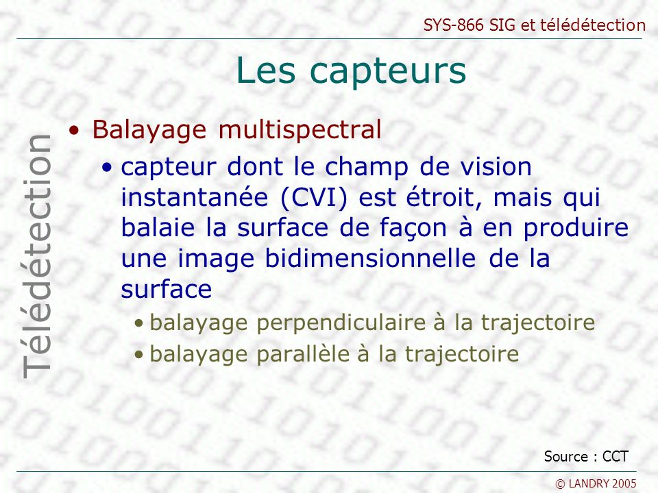 Les capteurs Télédétection Balayage multispectral