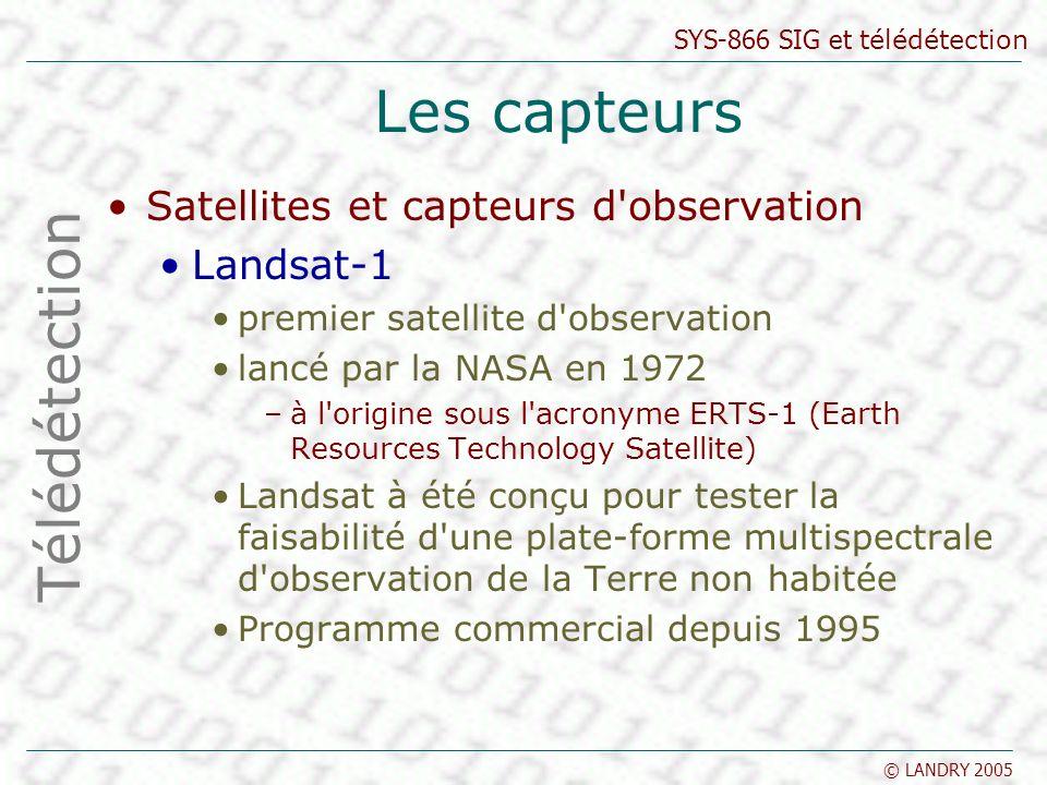 Les capteurs Télédétection Satellites et capteurs d observation