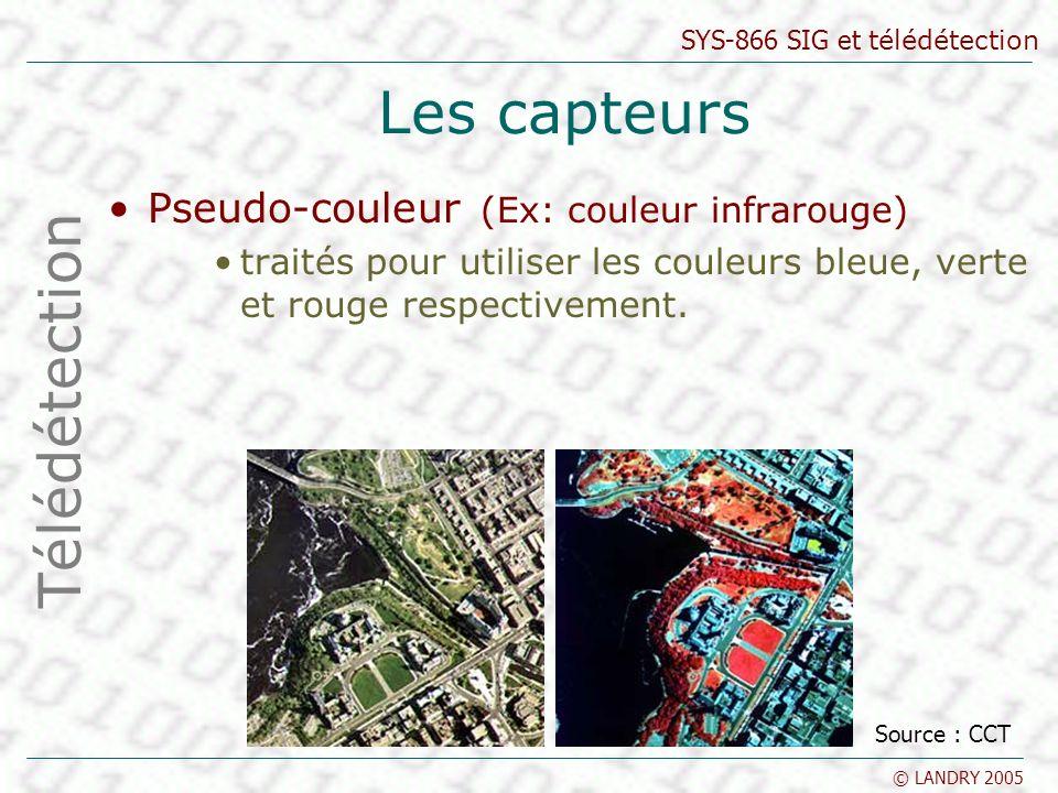 Les capteurs Télédétection Pseudo-couleur (Ex: couleur infrarouge)