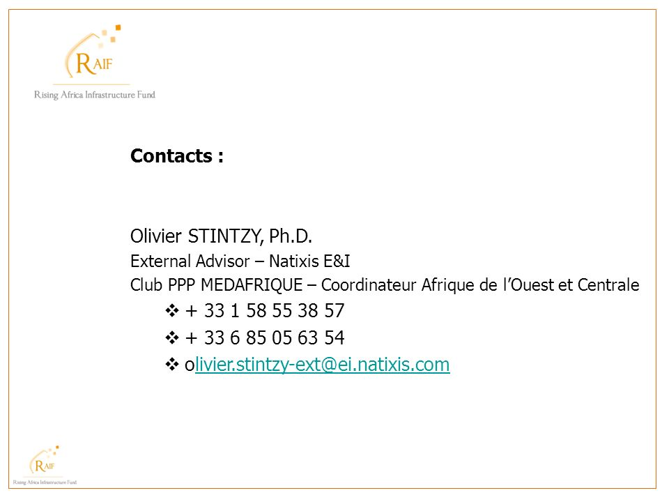 Contacts : Olivier STINTZY, Ph.D. + 33 1 58 55 38 57