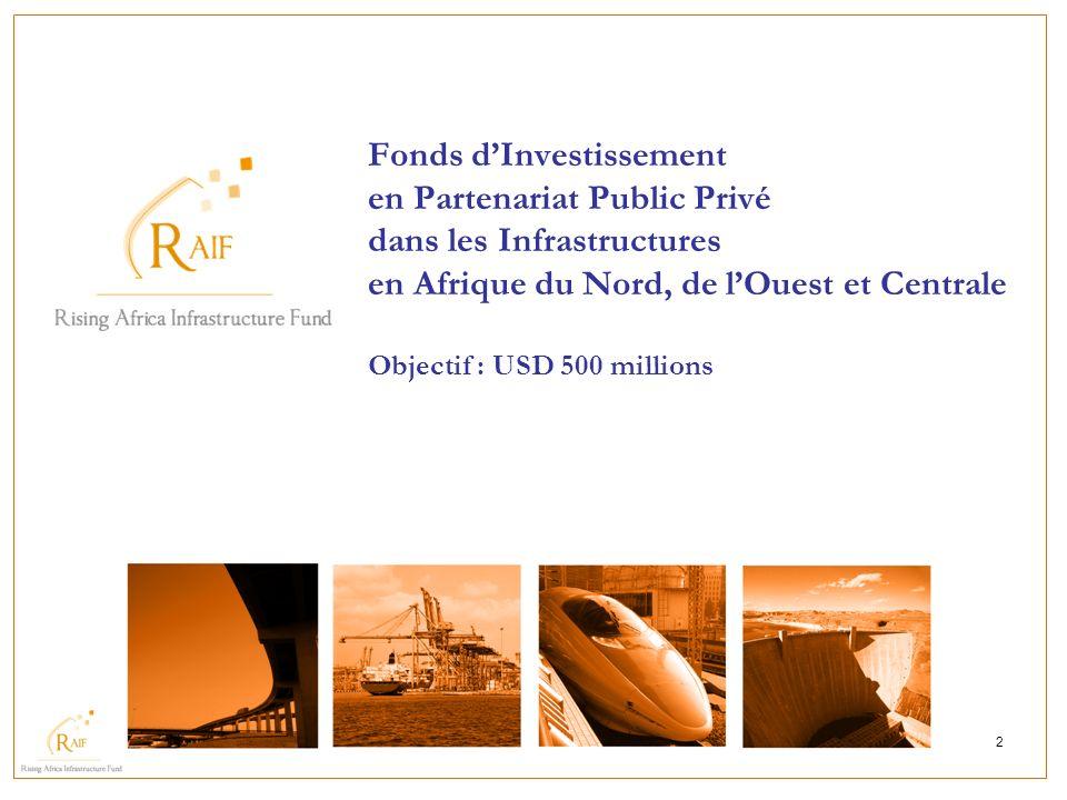 Fonds d'Investissement en Partenariat Public Privé dans les Infrastructures en Afrique du Nord, de l'Ouest et Centrale Objectif : USD 500 millions