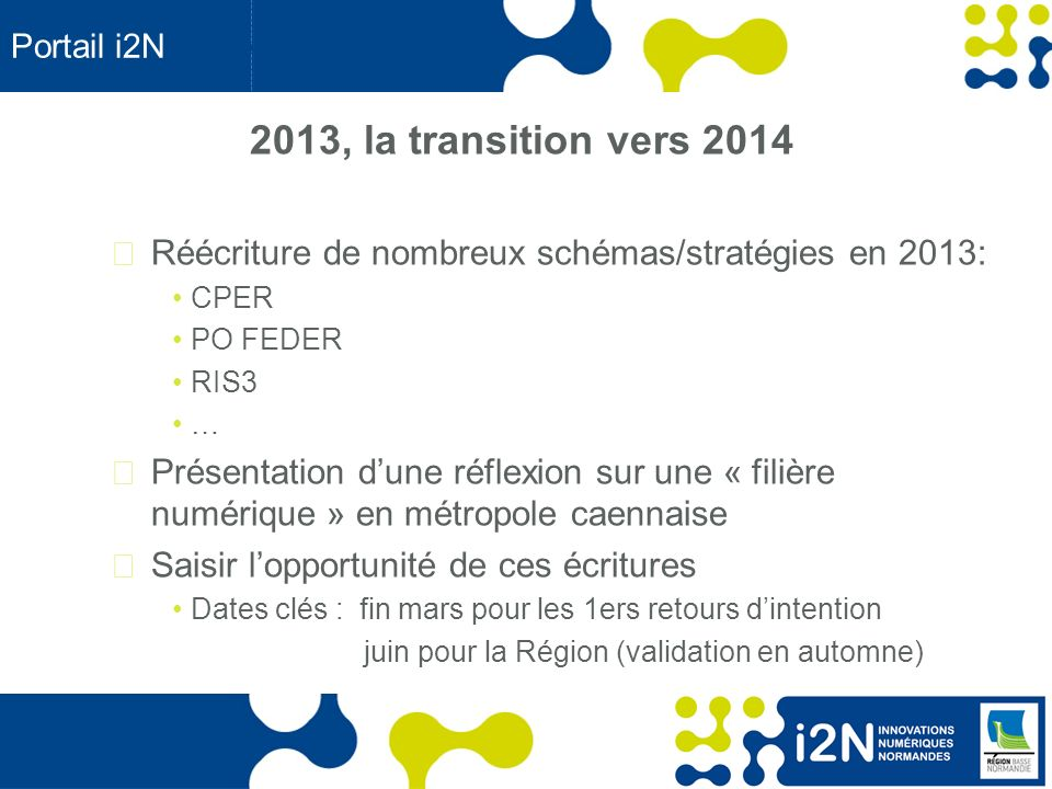 Portail i2N 2013, la transition vers 2014. Réécriture de nombreux schémas/stratégies en 2013: CPER.