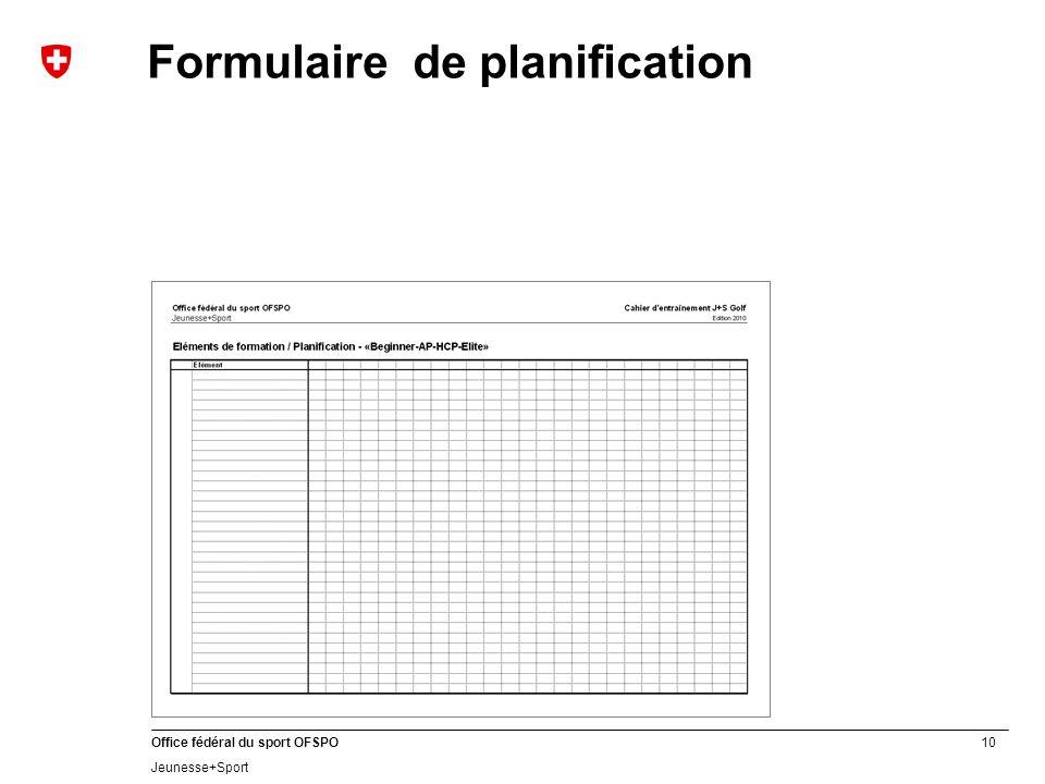 Formulaire de planification