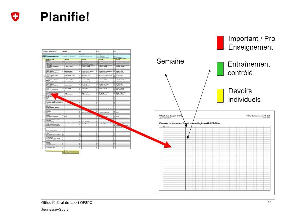 Planifie! Important / Pro Enseignement Semaine Entraînement contrôlé