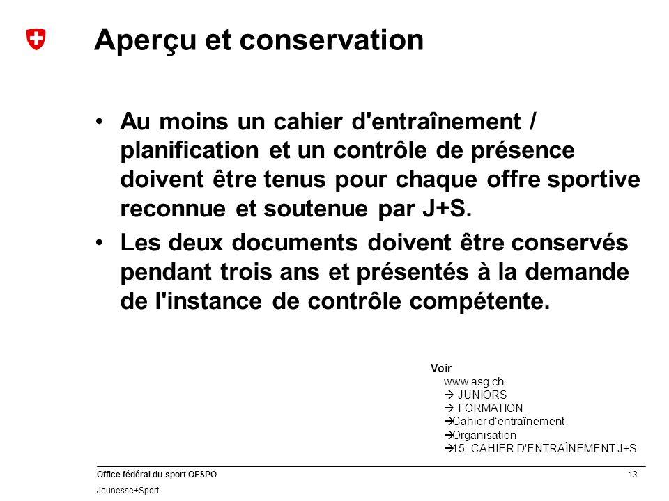 Aperçu et conservation