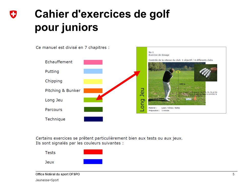 Cahier d exercices de golf pour juniors