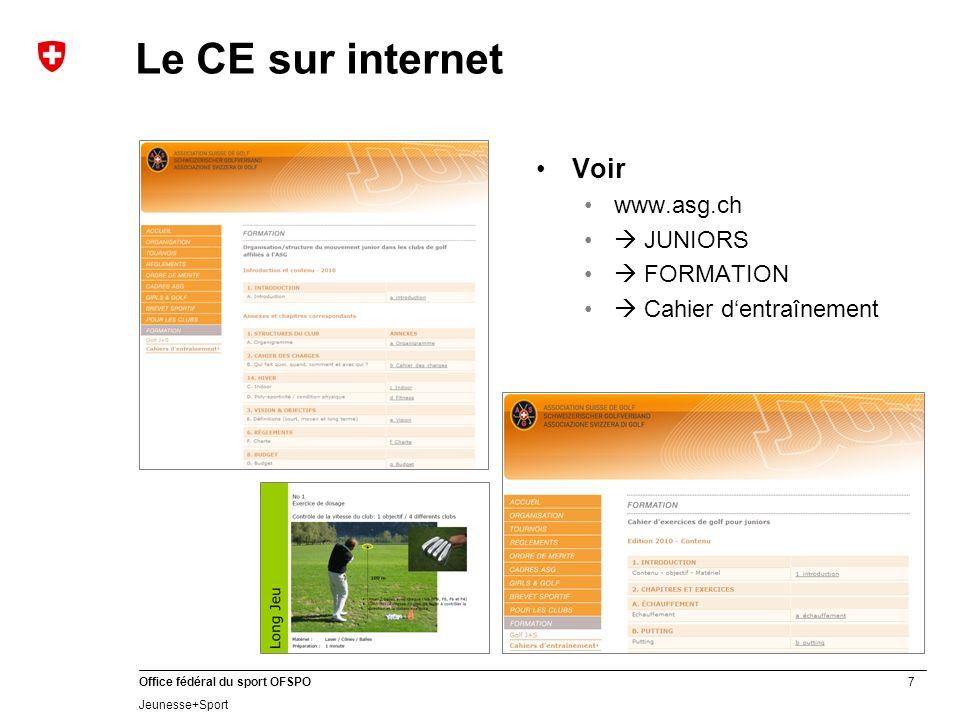 Le CE sur internet Voir www.asg.ch  JUNIORS  FORMATION