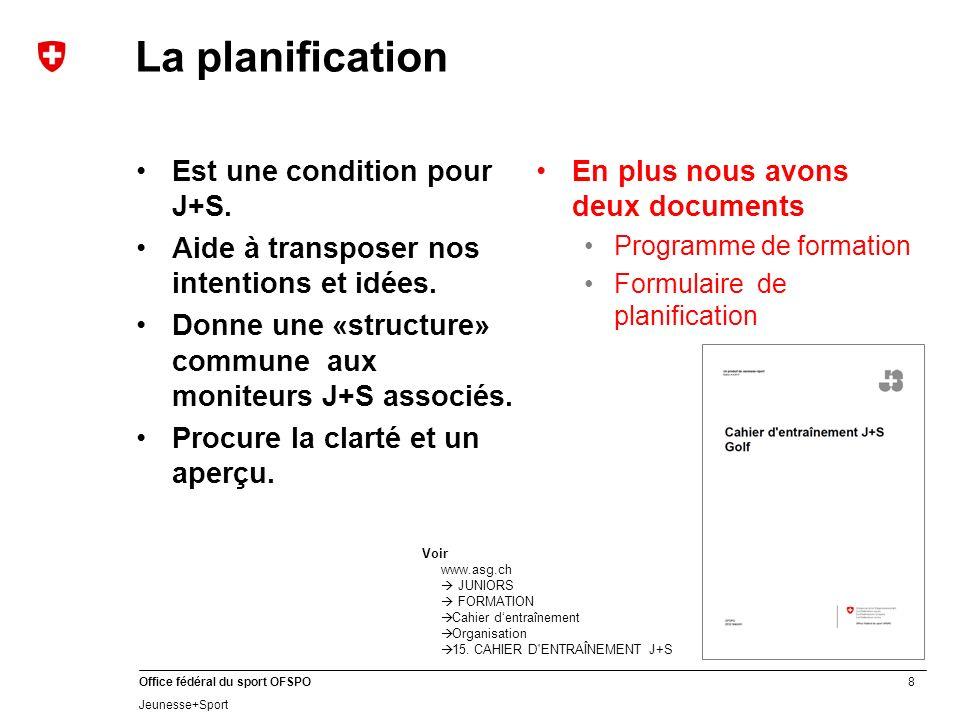 La planification Est une condition pour J+S.