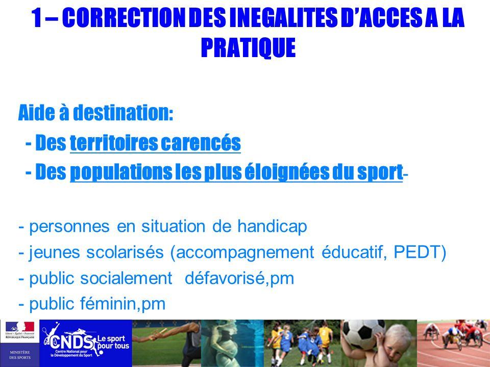 1 – CORRECTION DES INEGALITES D'ACCES A LA PRATIQUE