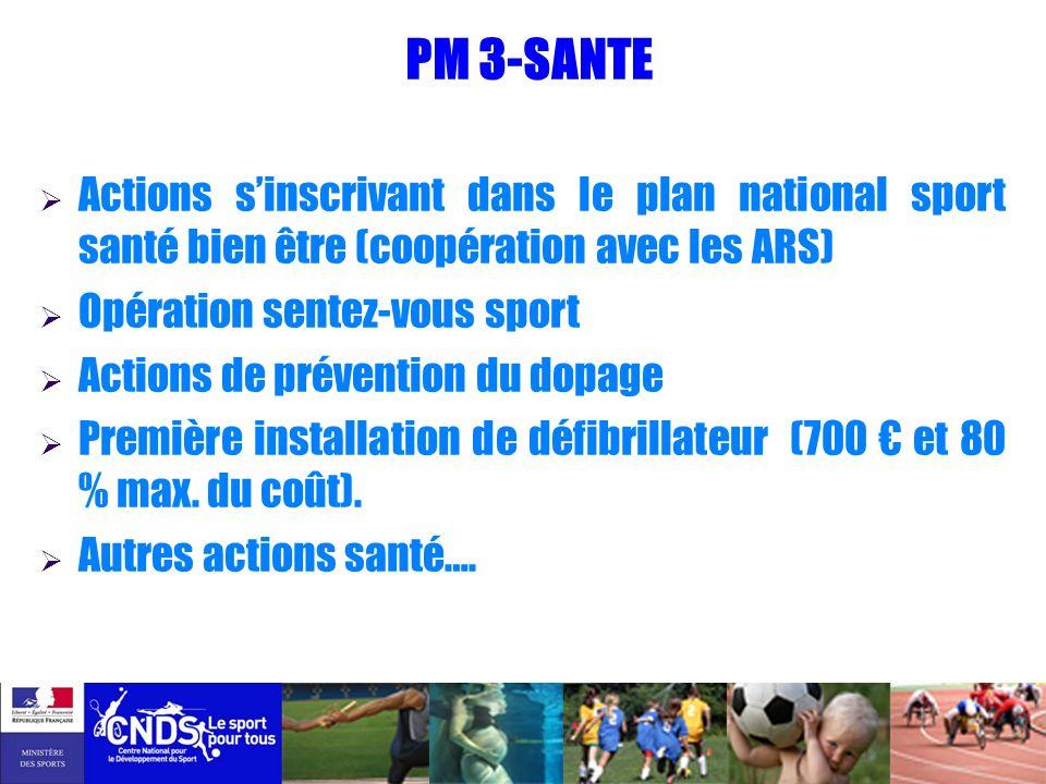 PM 3-SANTE Actions s'inscrivant dans le plan national sport santé bien être (coopération avec les ARS)
