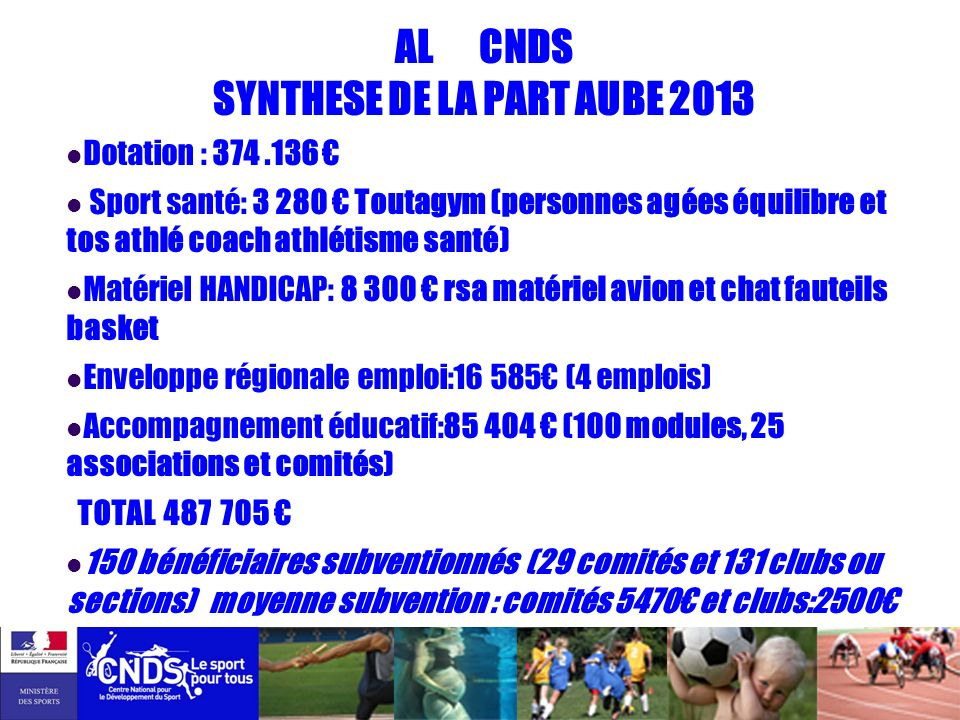 AL CNDS SYNTHESE DE LA PART AUBE 2013